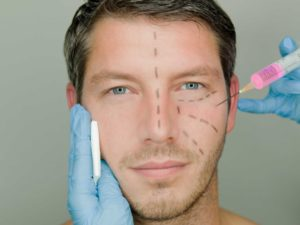 Man receiving cosmetic injection